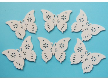 Motylek drewniany 5 cm x 3,9 cm 6szt  KOD X140