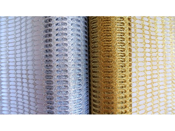 Metalizowana siatka dekoracyjna 48 cm x 5 y KOD F024